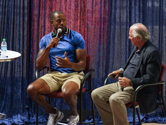 Andra Iguodala with University of Arizona President Robert Robbins