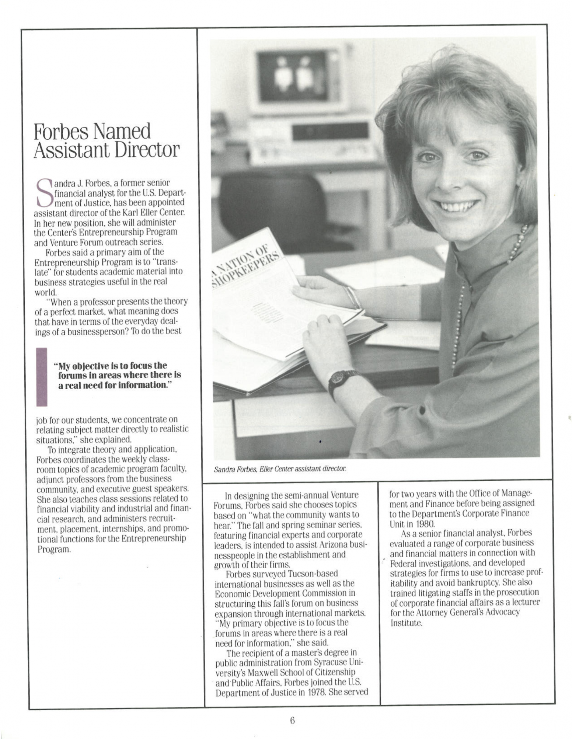 1988- Fall issue of Enterprise, the publication of the Karl Eller Center