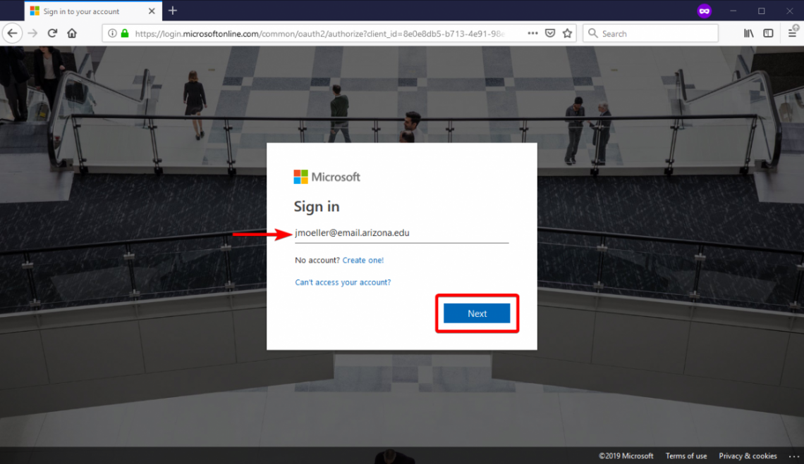 Initial Microsoft sign-in screen. Use your full UA email address.