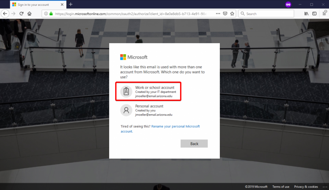 "Microsoft account disambiguation prompt. Select ""Work or School"" account."