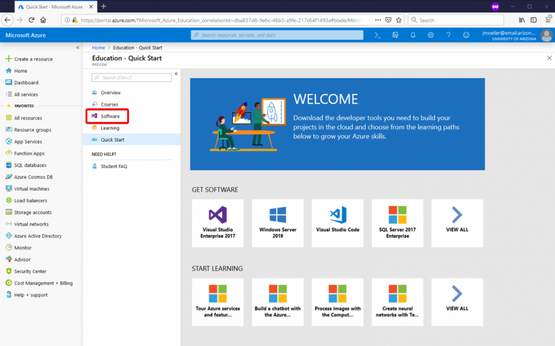 "Azure Dev Tools for Teaching ""Education Portal"" page"