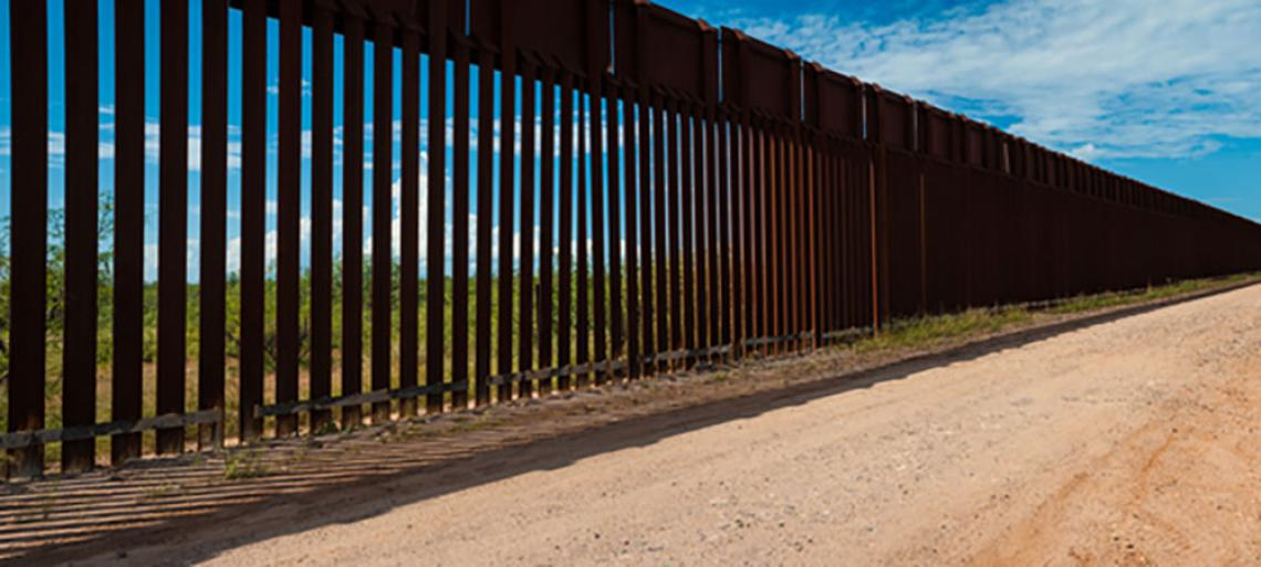 The border wall between Mexico and the USA