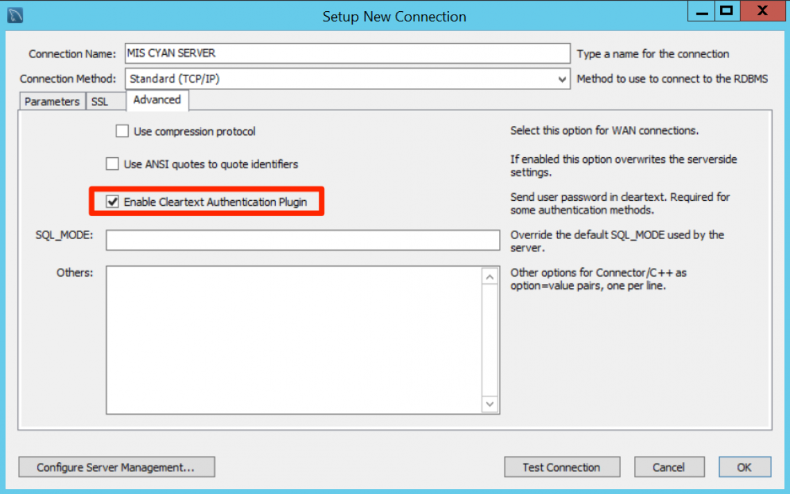 Ensure that Enable Cleartext Authentication Plugin is selected