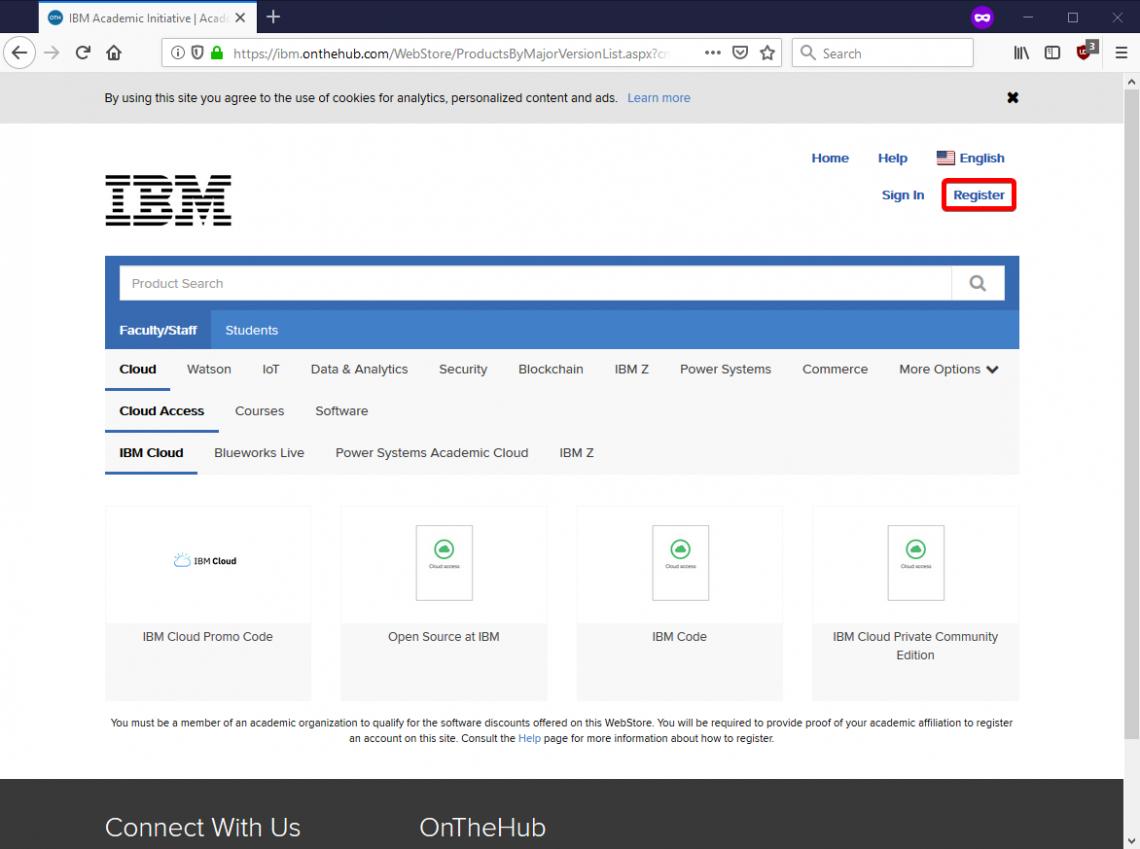 Register on the IBM OnTheHub site.