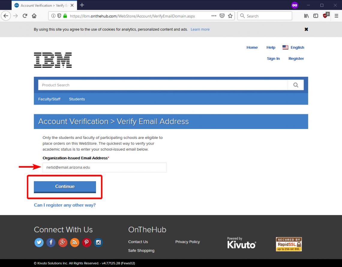 Register with your UA e-mail address