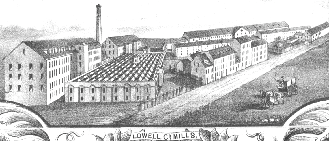 A drawing of Lowell Mills in Massachusetts