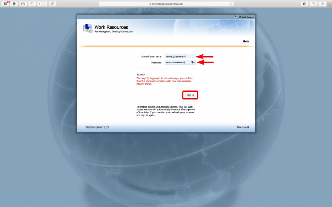 RDS resource Enter Domain and Username