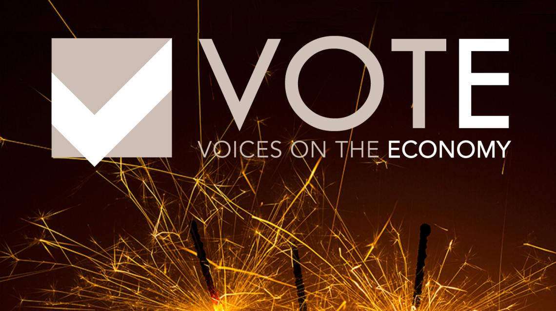 Voices on the Economy logo with sparklers