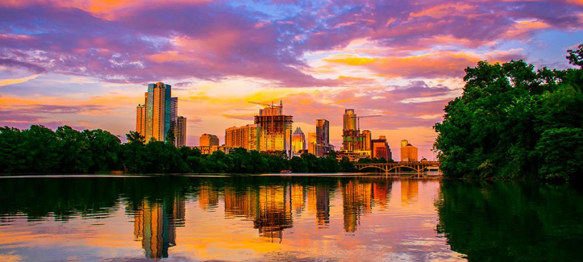 Austin, Texas at sunset