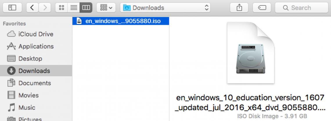 selected disk image windows vm