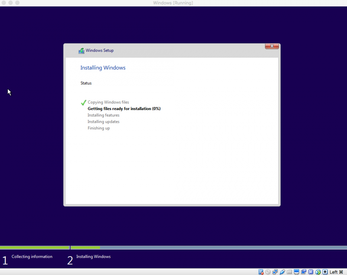 windows is now installing